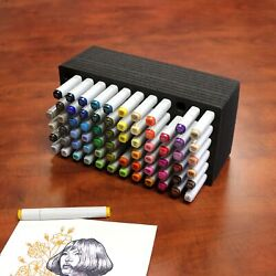 Art Marker Pen Organizer Tray Stand Durable Black Fits Copic Horizontal Holds 72