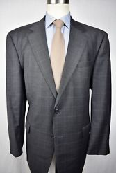 Jos A. Bank Dark Gray Windowpane Check Wool Two Button Two Piece Suit Size 46l