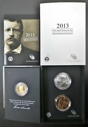 2013 Us Mint Roosevelt Coin And Chronicles Set Dollar W/ Silver And Bronze Medals