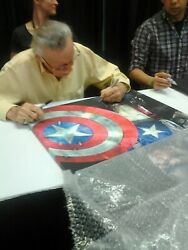 Stan Lee Autographed Ironman And Captain America Signed Canvas Art 36x24 W/proof
