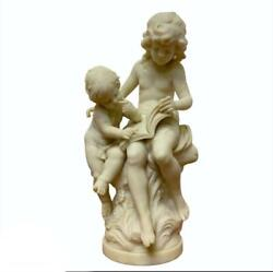 20th Century White Cast Marble Lady Reading Book To Little Boy Sculpture