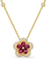 1.14ct Diamond And Aaa Ruby 14kt Yellow Gold 3d Flower Halo By The Yard Necklace