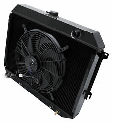 1970-1974 Challenger Bb Radiator,fans And Relay Champion Black Aluminum 3 Row 26