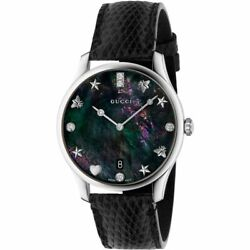 New Ladies G-timeless Black Mother Of Pearl Dial Watch Ya1264086 Rrp2350