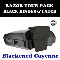 Blackened Cayenne Razor Tour Pack Black Hinges Latch Fit 97-20 Harley Touring