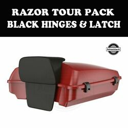 Red Hot Sunglo Razor Tour Pack Black Hinges Latch Fit 97-20 Harley Road Touring