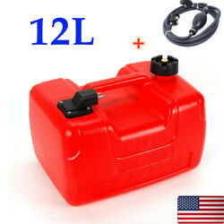 New Portable Boat Fuel Tank 12l Marine Outboard Tank W/ Fuel Line Connector Kit