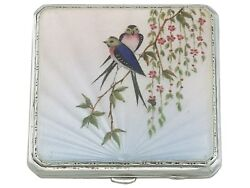 Vintage Sterling Silver And Enamel Compact By Joseph Gloster Birmingham 1940s