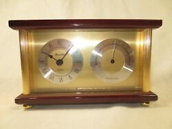 Bulova Clock amp; Thermometer Desk or Mantel Brass w Wood frame