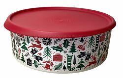 Tupperware: Christmas Cookie Container Red Lid New W Minor Blemishes 3421