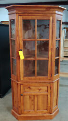 Large Pine Glass Front Corner Cupboard With Antique Seeded Glass