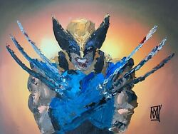 Original Palette Knife Wolverine X Arms Comic Marvel Fan Art Painting 12x16