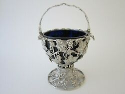Antique Victorian Sterling Silver And Glass Basket - 1840 By Reily And Storer