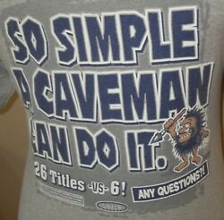 MENS NEW YORK NY YANKEES quot;SO EASY A CAVEMAN CAN DO ITquot; quot;BEAT BOSTONquot; SHIRT MED