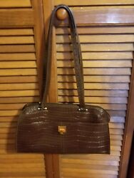 Etienne Aigner Croc Embossed Leather Satchel Purse Handbag Glossy Brown $20.99