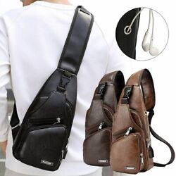 Mens USB Charging Sling Shoulder Chest Bag Cross Body Messenger Leather Backpack $10.03