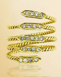 Womens 0.65 Carats Vvs / F-g Diamonds In 18k Yellow Gold Coil/snake Design Ring
