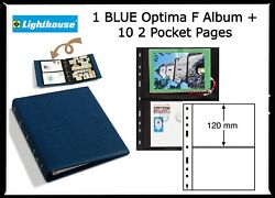 1 Lighthouse Optima F Album + Slipcase Collection W/ 10 2 Pockets Postcard Pages