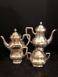Sterling Silver Coffee Tea Cream And Sugar Set 5 Pieces