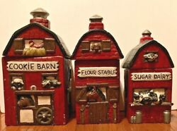 Cookie Barn, Flour Stable, Sugar Dairy Ceramic Kitchen Canister/container Set