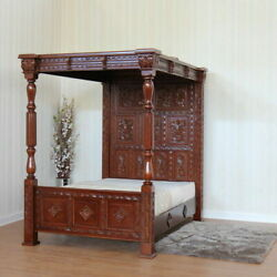 Ancestral Styled Carved Four Poster Bed With Full Headboard And Top Canopy