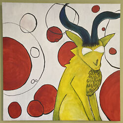 """Large Primary Color Goat Oil Painting 27""""x27"""""""