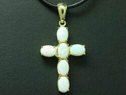 14kt 585 Yellow Gold Cross Pendant With 3,00ct Opal Trim/christianity/ 4,7g