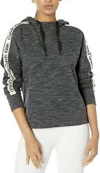CALVIN Women#x27;s Logo Tape Drop Shoulder Hoodie Grey L $34.99
