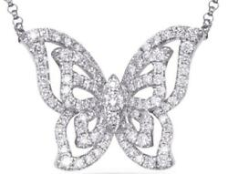 Estate .59ct Diamond 14kt White Gold 3d Butterfly Love Necklace