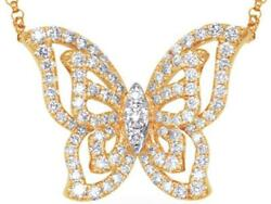 Estate .59ct Diamond 14kt Yellow Gold 3d Butterfly Love Necklace