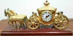 United Clock 1940's Gold Horse Drawn Carriage Stagecoach  Vintage Antiques