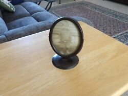 Vintage Wood Oval Frame 1914 3and039 X 4and039 Picture Wood Back Metal Stand