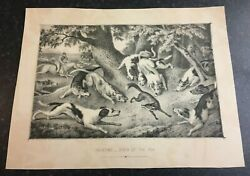 Hunting, Death Of The Fox - Antique Book Magazine B And W Plate C1900 10.5 X 8 In