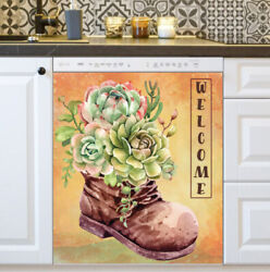 Kitchen Dishwasher Magnet - Old Gardening Boot With Succulents