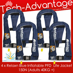 4 X Adult Offshore Boat 150n 40kg+ Boat Inflatable Manual Pfd Life Jackets