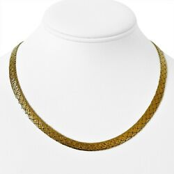 14k Yellow Gold 26.5g Heavy 6mm Etched Fancy Herringbone Link Necklace Italy 18