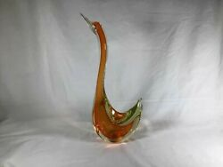 Large Murano Sommerso Orange Glass Swan Sculpture