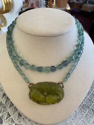 Estate Vintage Extasia Carved Green Glass Pendant Double Strand Necklace