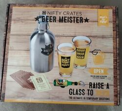 Nifty Crates Beer Meister Drinking Kit Growler Glasses Recipes Bottle Opener