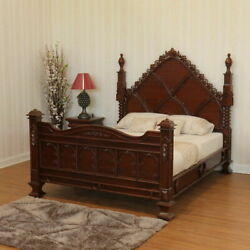 Gothic Style Empire Bed With Intricately Hand Made High Qlty Mahogany Wood.