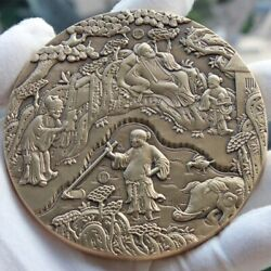 China Ancient Rural Life Medal(fisherman And Woodcutter Farming Reading)96mm