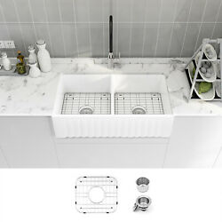 Sinber 33 White Ceramic Double Bowl Apron Farmhouse Kitchen Sink With Strainer