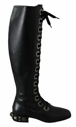 Dolce And Gabbana Shoes Womenand039s Black Leather Knee Biker Studs Boots Eu37/us7