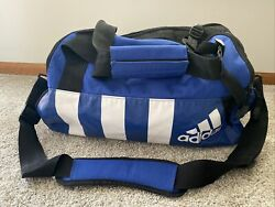 Vintage Adidas Vinyl Type Duffel Bag Multiple Compartments Straps Blue And White