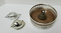 Vintage Ep Embossed Wine Coaster Madein England Brass Bell And 2 Silver Sea Shell