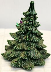 Vtg Hand Painted Small Size Ceramic Christmas Tree - No Base - Marked Ap