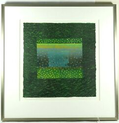 Original Monotype - Clear Night On The Water - Louise Kalin Matted And Framed