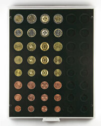 Lindner 2506c Coin Box Carbo Black 6x Euro-course-coins-sets 1-50 Cent 1