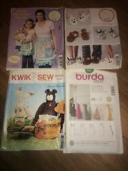 Sewing Pattern Lot Of 4, Mixed Brands Of Crafts, Aprons, Slippers. Lot N