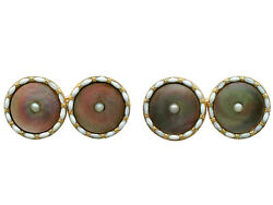 Mother Of Pearl Seed Pearl Enamel 9carat Yellow Gold Cufflinks - Antique - C1910
